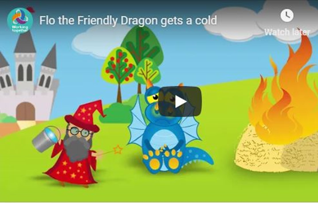 Header image for the current page Helping families to stay healthy this winter with Flo the friendly dragon