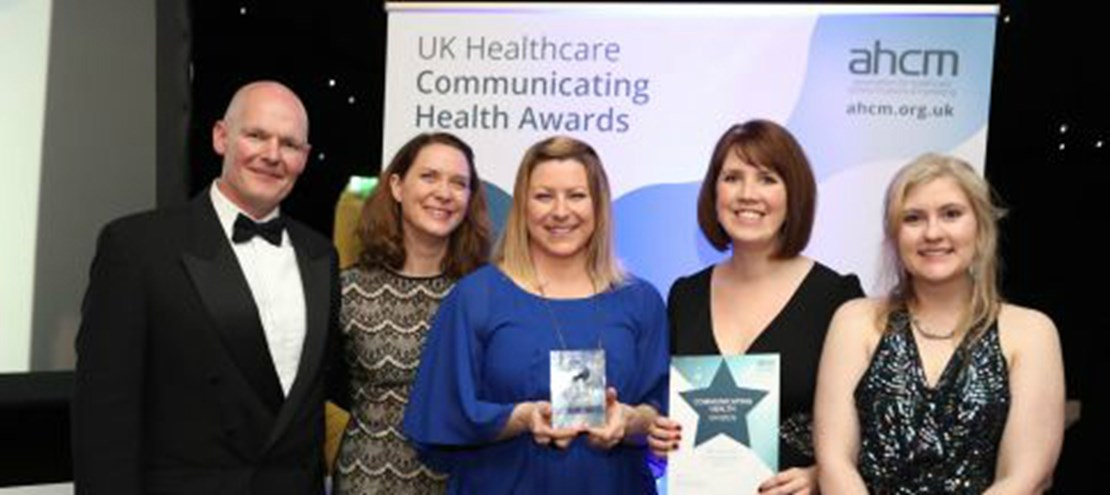 Header image for the current page Engagement, Communications and Marketing team wins prestigious AHCM award for Best Internal Communications